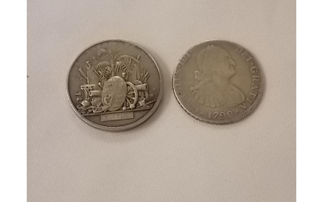1792 Mexican RARE Coin and another foreign coin - 1/2