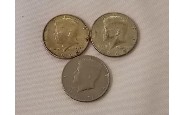 1965, 1969, and 1976 Half Dollars Lot E106 - 1/3