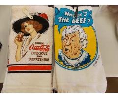 Lot #7 Vintage WHERES THE BEEF? & Coca-Cola Towels