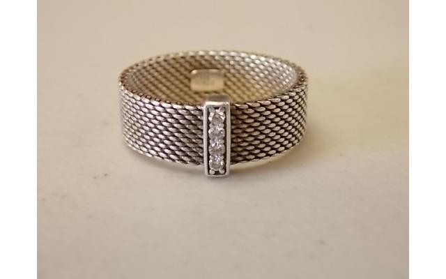 Tiffany & Co. Sterling Silver Somerset Ring (marked 925, possibly small diamonds) - 1/4