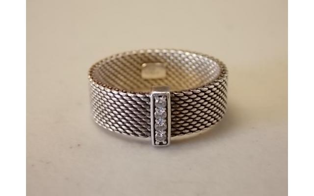 Tiffany & Co. Sterling Silver Somerset Ring (marked 925, possibly small diamonds) - 2/4