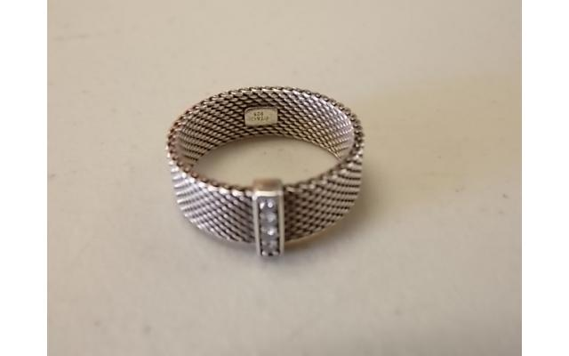 Tiffany & Co. Sterling Silver Somerset Ring (marked 925, possibly small diamonds) - 3/4