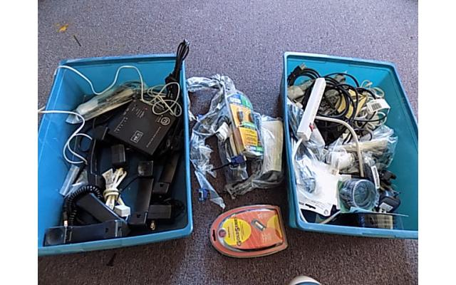 2 totes of cables and power cords - 1/5