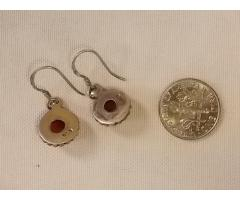 Lot #37 Silver Earrings with Red Stones (stamped 925)