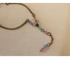 Lot #40 Silver Necklace with Multicolored Beads (stamped 925)