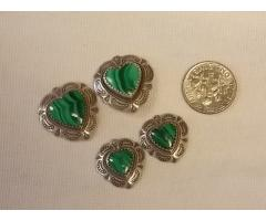 Lot #42 Sterling Silver Charm Lot with Green Stones (stamped sterling)