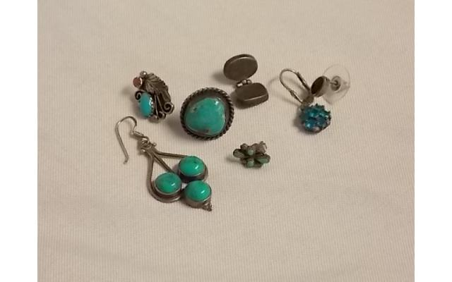 Lot #6 Earring lot either marked silver or appears to be silver missing mates - 1/2