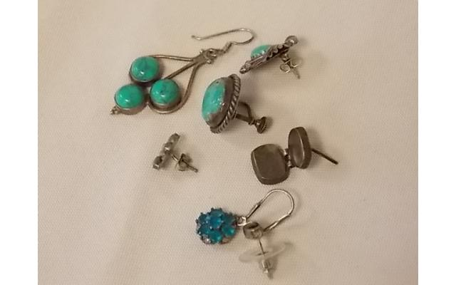 Lot #6 Earring lot either marked silver or appears to be silver missing mates - 2/2