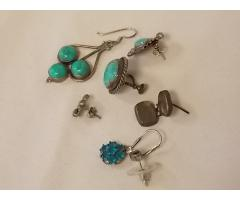 Lot #6 Earring lot either marked silver or appears to be silver missing mates - Image 2/2