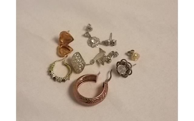 Lot #7 Earring lot either marked silver or appears to be silver missing mates - 1/2