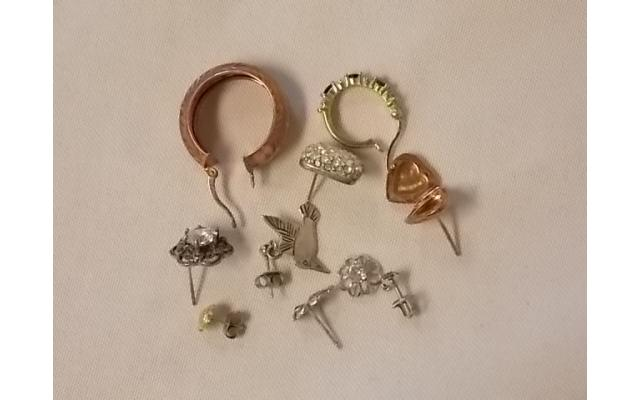 Lot #7 Earring lot either marked silver or appears to be silver missing mates - 2/2