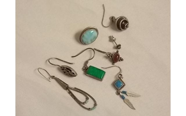 Lot #8 Earring lot marked either silver or appears to be silver missing mates - 1/2