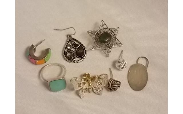 Lot #9 Jewelry either marked silver or appears to be silver - 1/2