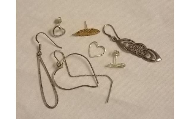 Lot #12 earring lot either marked silver or appears to be silver missing mates - 1/2