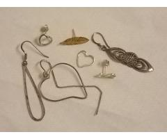 Lot #12 earring lot either marked silver or appears to be silver missing mates - Image 1/2