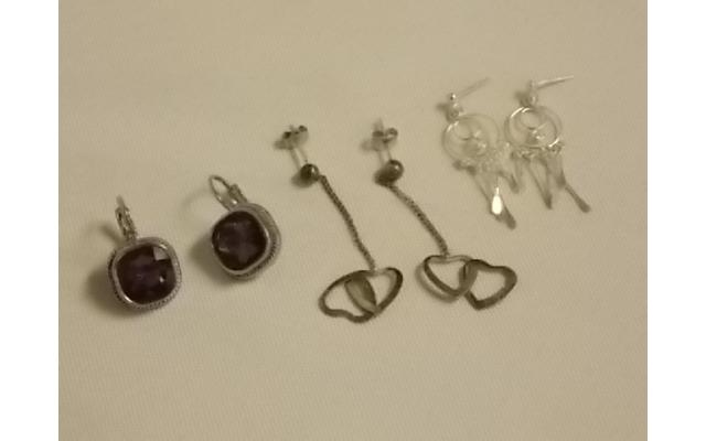 Lot #13 earrings either marked silver or appears to be silver - 1/2