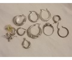 Lot #15 jewelry lot either marked silver or appears to be silver missing mates