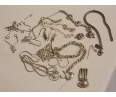 Lot #17 lot of broken jewelry either marked silver or appears to be silver