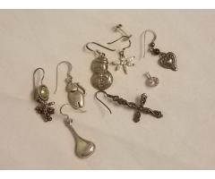 Lot #18 jewelry lot missing mates either marked silver or appears to be silver