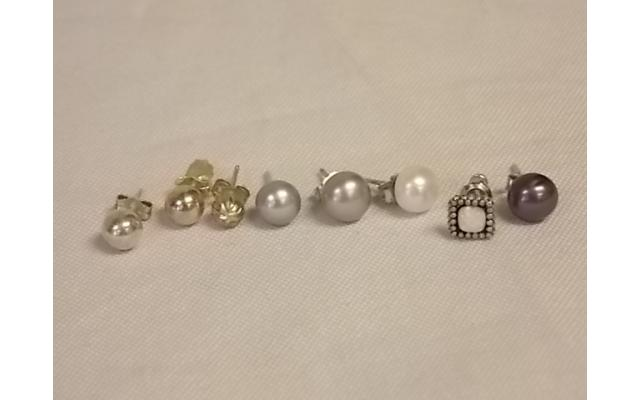 Lot #26 earring lot missing mates either marked silver or appears to be silver - 1/3